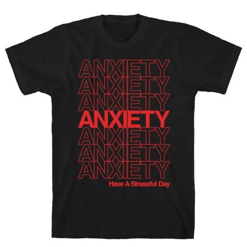 Anxiety Thank You Bag Parody White Print T-Shirt