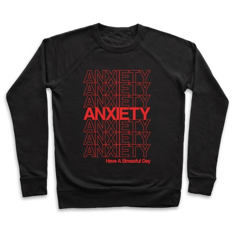 Anxiety Thank You Bag Parody White Print Pullover