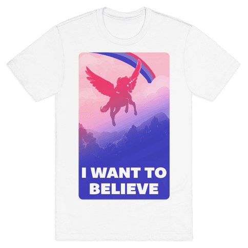 I Want To Believe Bisexual Unicorn Mens T-Shirt