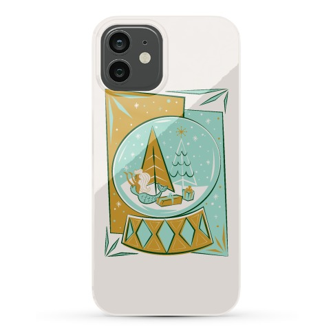 Mid-Century Modern Mermaid Holiday Snow Globe Phone Case