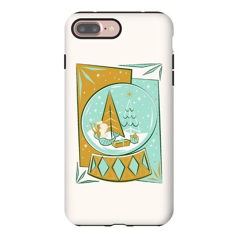 Mid-Century Modern Mermaid Holiday Snow Globe Phone Case
