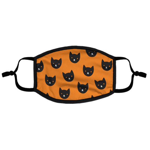 Black Cat Face Pattern Flat Face Mask