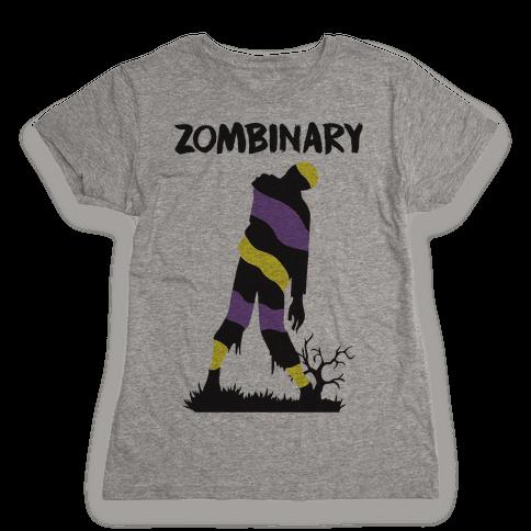 Zombinary Nonbinary Zombie Womens T-Shirt