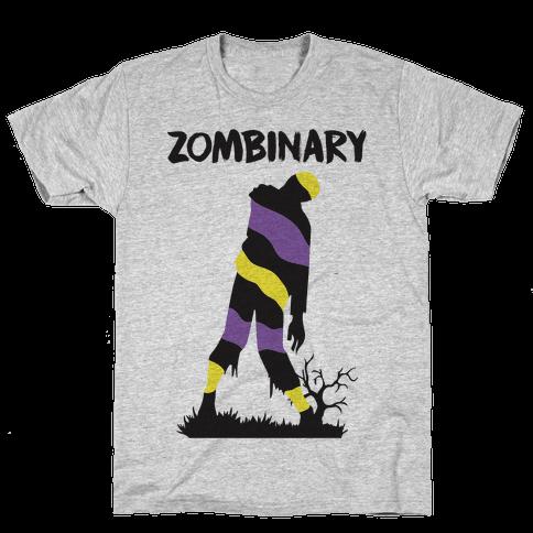 Zombinary Nonbinary Zombie Mens T-Shirt