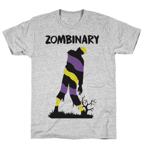 Zombinary Nonbinary Zombie Mens T-Shirt