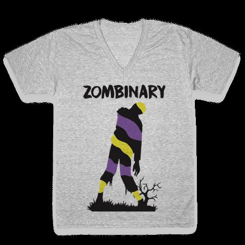 Zombinary Nonbinary Zombie V-Neck Tee Shirt