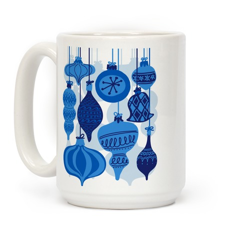Blue Holiday Ornament Pattern Coffee Mug