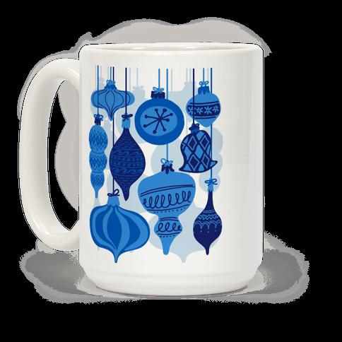Blue Holiday Ornament Pattern Coffee Mug