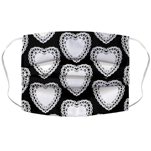 Doily Hearts Pattern Accordion Face Mask