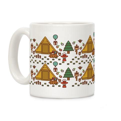 Yellow Tent Glamping Pattern Coffee Mug