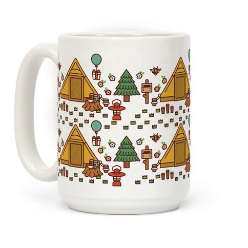 Yellow Tent Glamping Pattern Coffee Mug