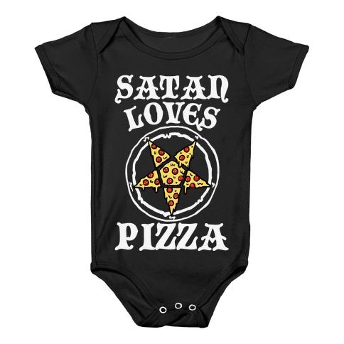 Satan Loves Pizza Baby Onesy