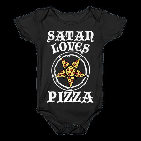 Satan Loves Pizza Baby Onesy