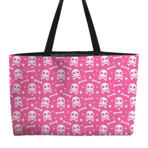 Cute Skull N' Bones Pattern (Pink) Weekender Tote