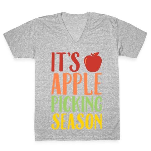 It's Apple Picking Season White Print V-Neck Tee Shirt