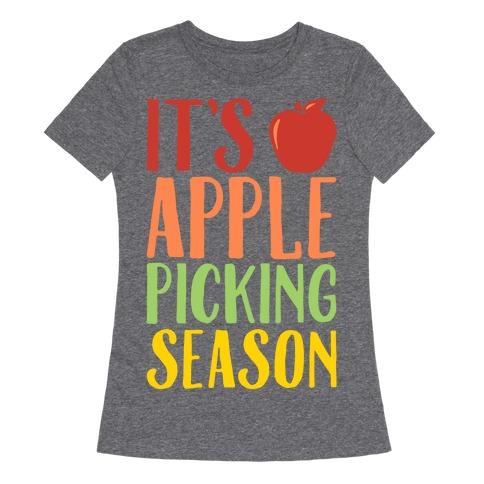 It's Apple Picking Season White Print Womens T-Shirt