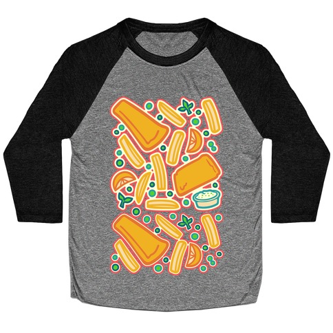 Groovy Fish And Chips White Print Baseball Tee
