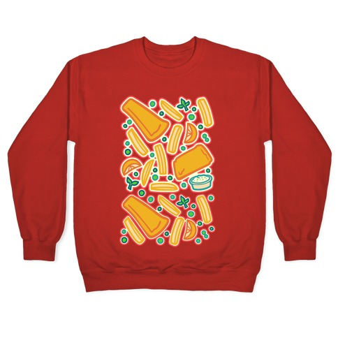 Groovy Fish And Chips White Print Pullover