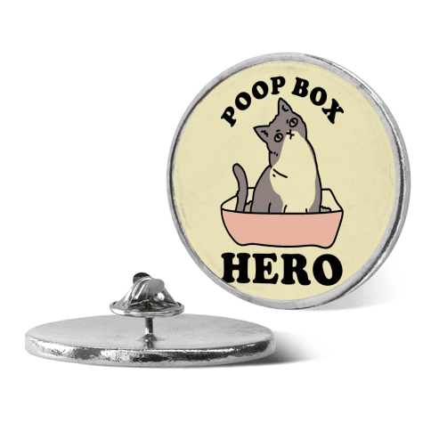 Poop Box Hero pin