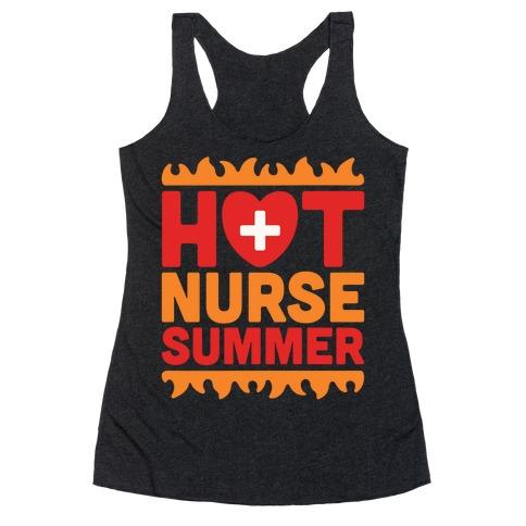 Hot Nurse Summer Parody White Print Racerback Tank Top