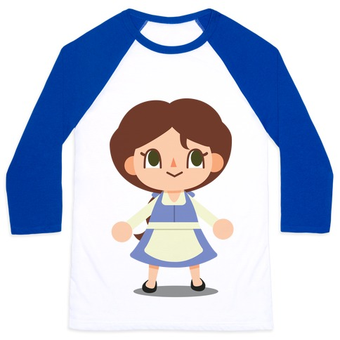 Princess Crossing Belle Parody Blue Baseball Tee