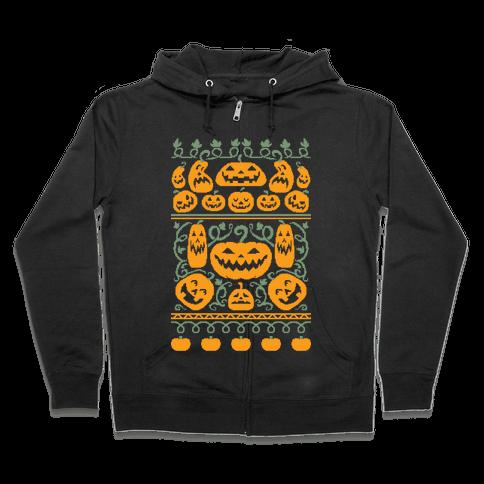 Ugly Pumpkin Sweater Zip Hoodie