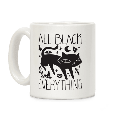 All Black Everything Cat Coffee Mug