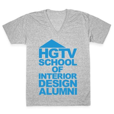 HGTV School of Interior Design Parody White Print V-Neck Tee Shirt