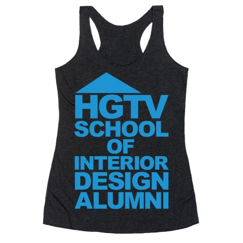 HGTV School of Interior Design Parody White Print Racerback Tank Top