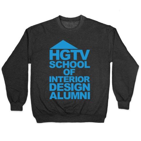 HGTV School of Interior Design Parody White Print Pullover