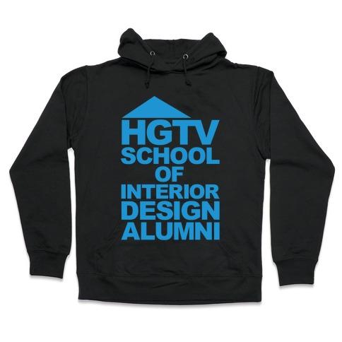 HGTV School of Interior Design Parody White Print Hooded Sweatshirt