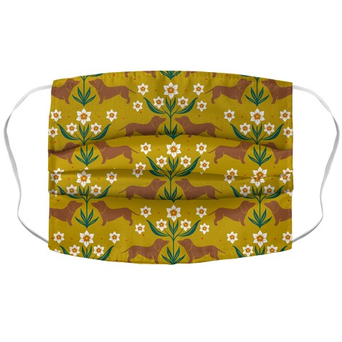 Dachshunds and Daffodils Yellow Accordion Face Mask