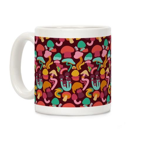 Retro Groovy Mushroom Pattern Coffee Mug