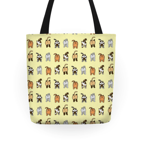 Yellow Cat Butt Pattern Tote