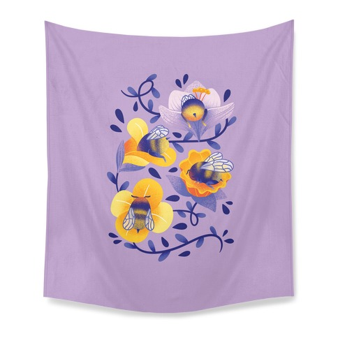 Sleepy Bumble Bee Butts Floral Tapestry