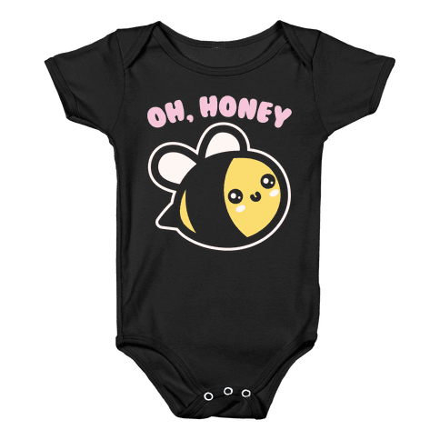 Oh Honey Bee Parody White Print Baby Onesy
