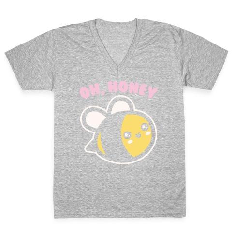 Oh Honey Bee Parody White Print V-Neck Tee Shirt