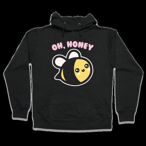 Oh Honey Bee Parody White Print Hooded Sweatshirt