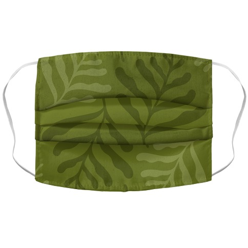 Army Green Leaves Accordion Face Mask