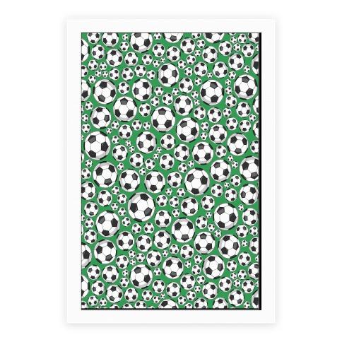 Soccer Balls Pattern Poster