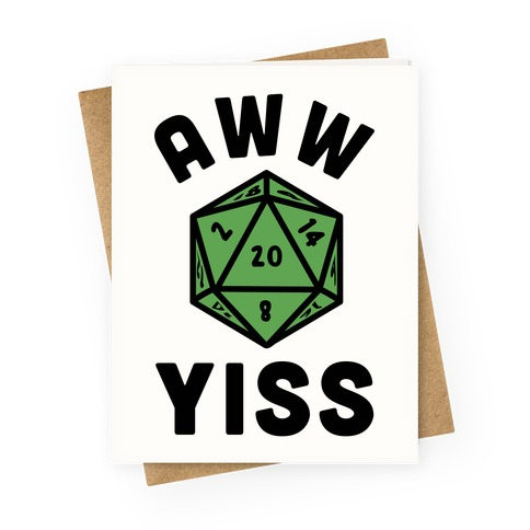 Aww Yiss D20 Greeting Card