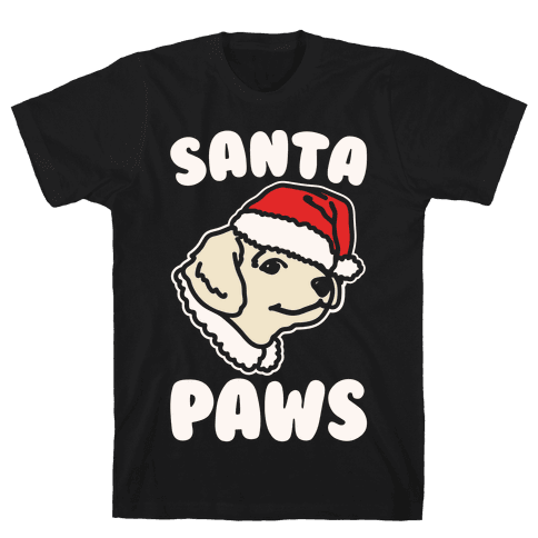 Santa Paws White Print Mens T-Shirt
