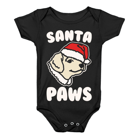 Santa Paws White Print Baby Onesy