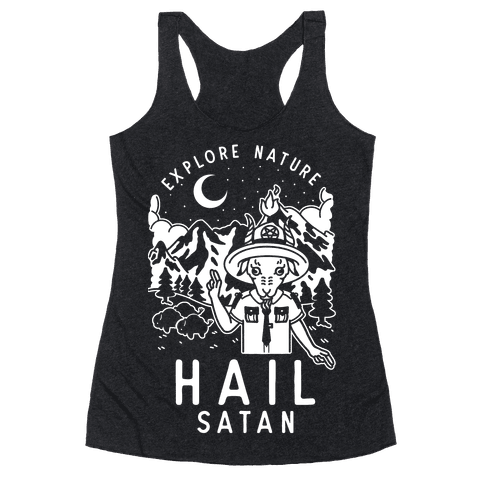 Explore Nature Hail Satan Racerback Tank Top