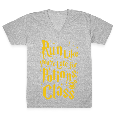 Run Like You're Late For Potions Class V-Neck Tee Shirt
