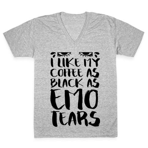 I like my Coffee as Black As Emo Tears V-Neck Tee Shirt