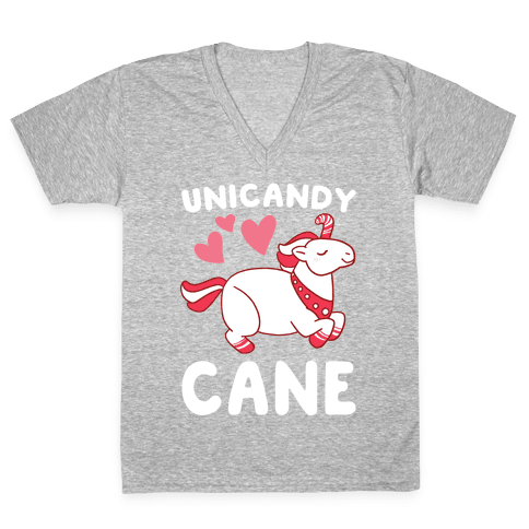 Uni-Candy Cane  V-Neck Tee Shirt