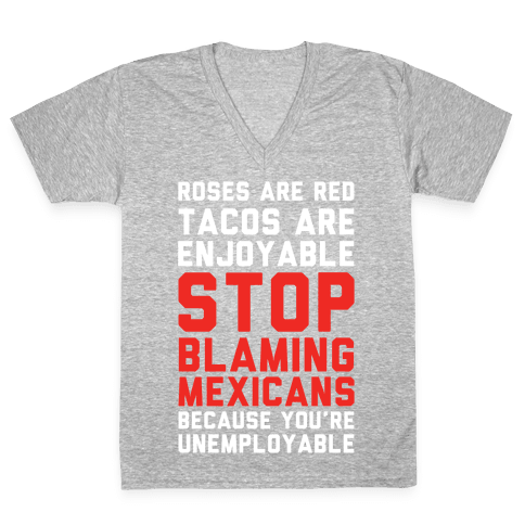 Rose are Red Tacos Are Enjoyable V-Neck Tee Shirt