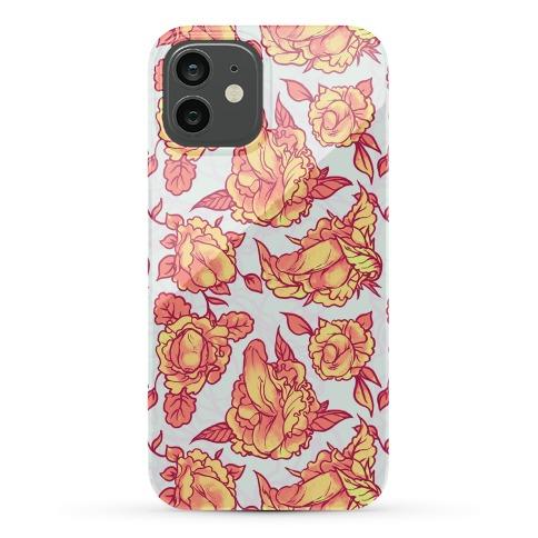 Floral Penis Pattern Orange Phone Case
