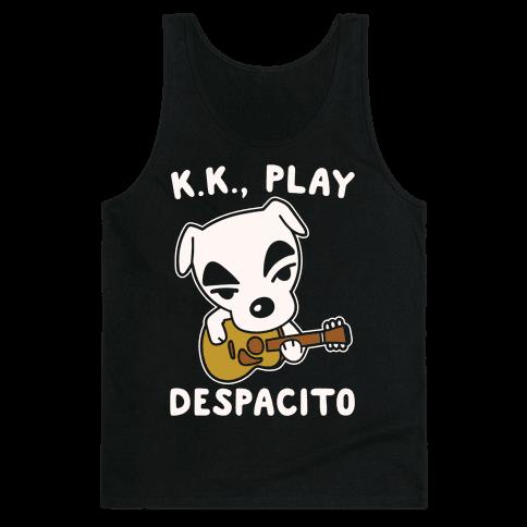 K.K. Play Despacito Parody White Print Tank Top